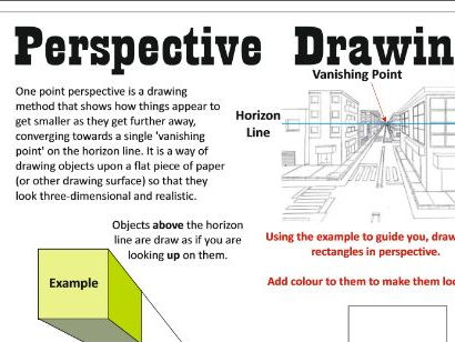 1 point & 2 point perspective drawing activity work sheet or homework