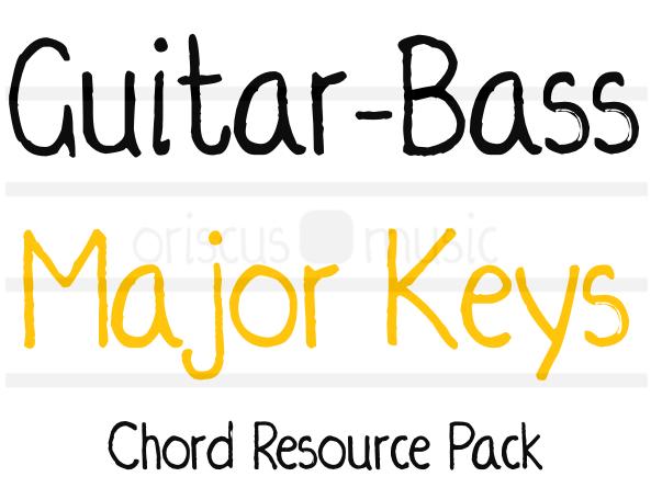 Guitar-Bass Major Key Chord Cards