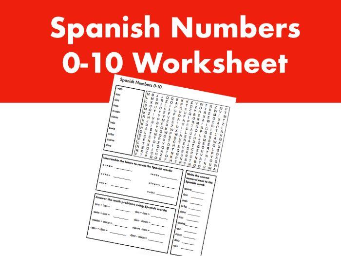 Spanish Numbers 0-10 Worksheet