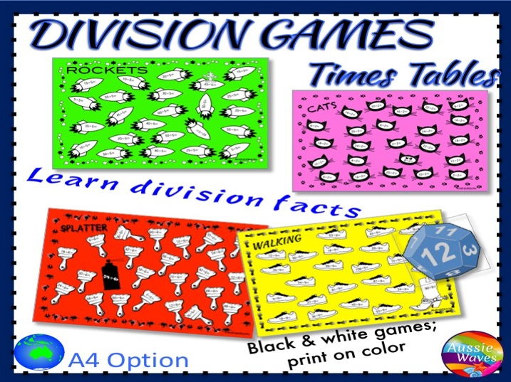 Math Games BUMP Games Learning Division Facts TIMES TABLES Math Centre Activity