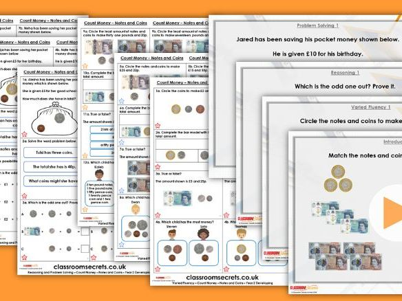 Year 2 Count Money - Notes and Coins Autumn Block 3 Step 3 Maths Lesson Pack