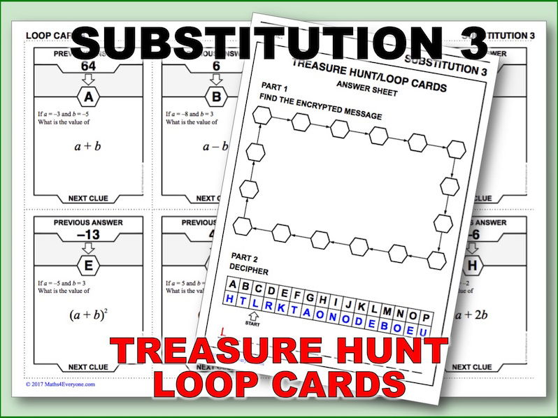 Substitution 3 – Getting Tricky (Treasure Hunt)