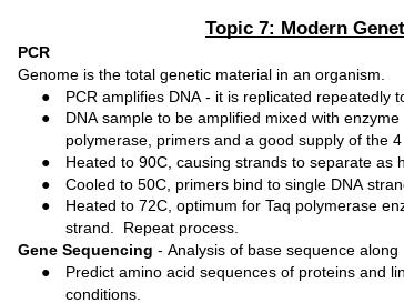 Edexcel A Level Biology Topic 7 Modern Genetics