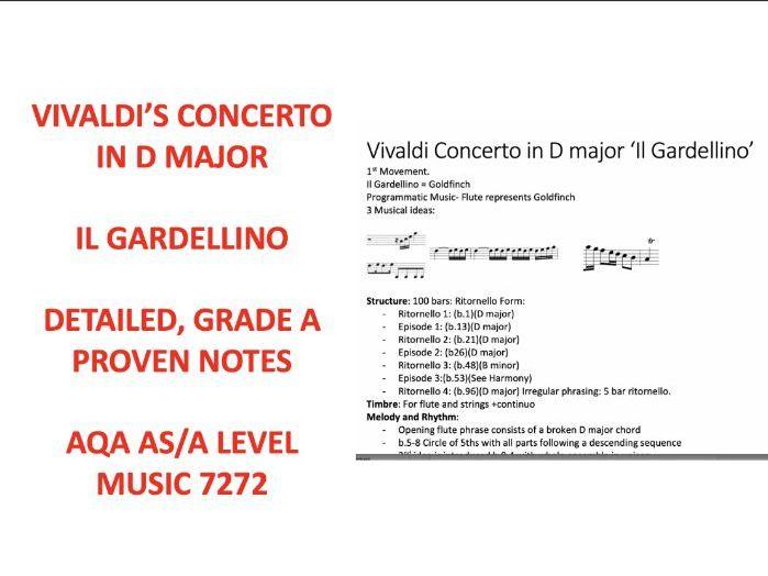 Vivaldi's Il Gardellino Concerto in D major AS \ A Level Music 7272