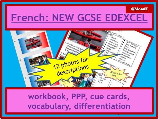 EDEXCEL French NEW GCSE: Foundation Writing photo task 11-page wk bk and activities; revision, cover