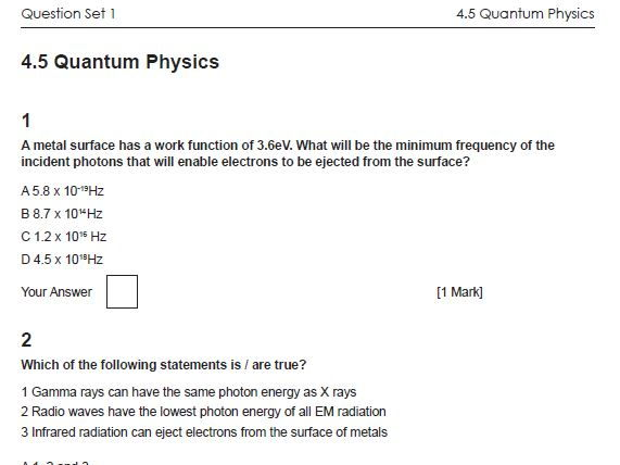 4.5 Quantum Physics OCR A Physics AS and A level Multiple Choice Questions