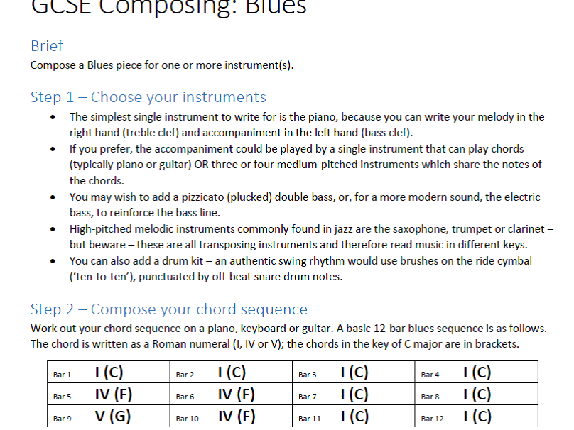 GCSE Music Composing - Blues