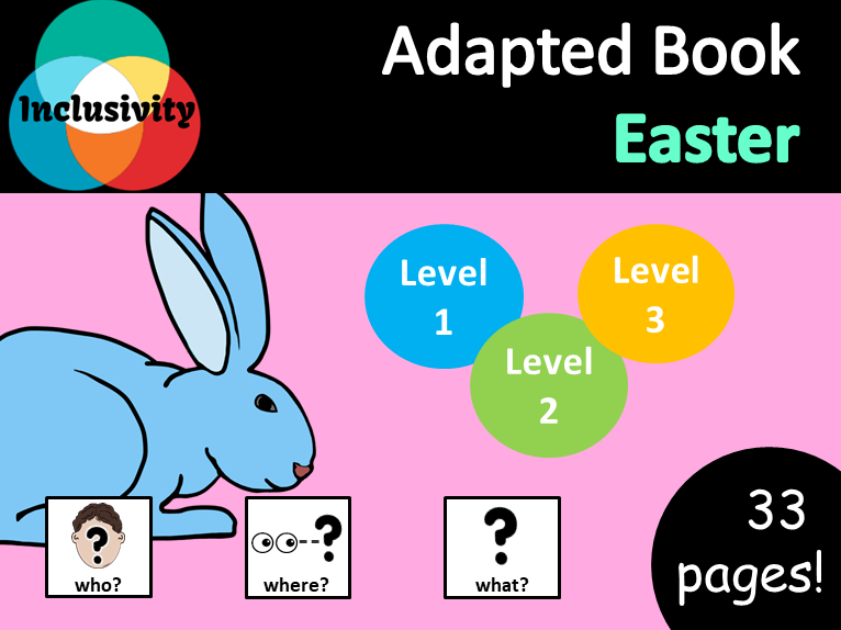 Easter WHO, WHERE, WHAT? Adapted book preposition Level 1, Level 2 and Level 3