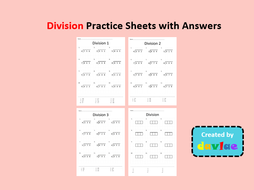 Division Practice Sheets with Answers
