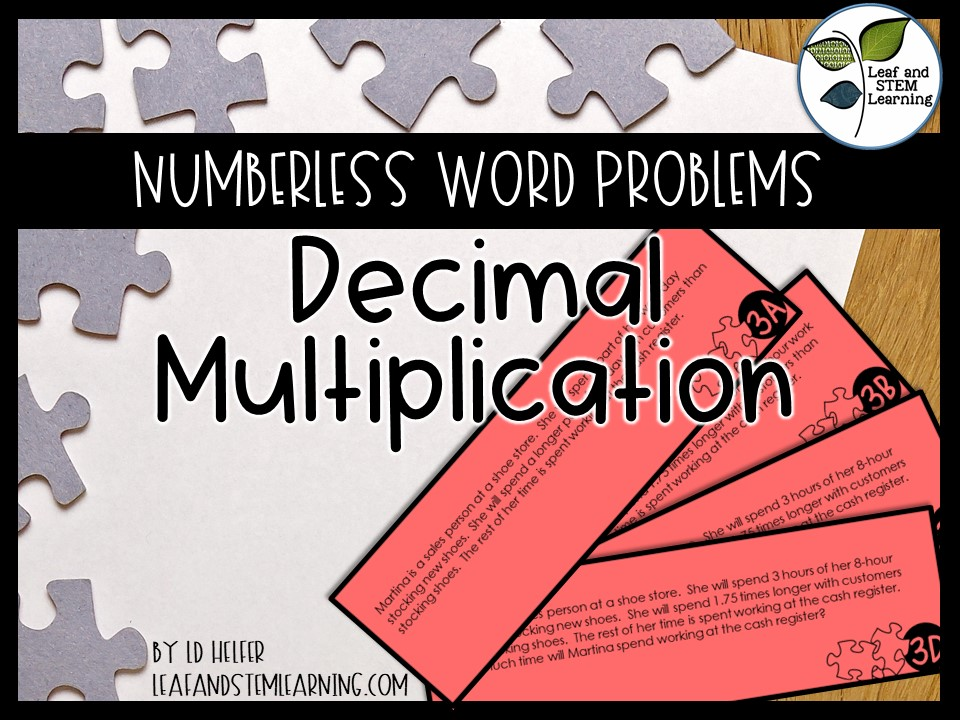 Multiplying Decimals Multi Step Word Problems {Numberless Word Problems}
