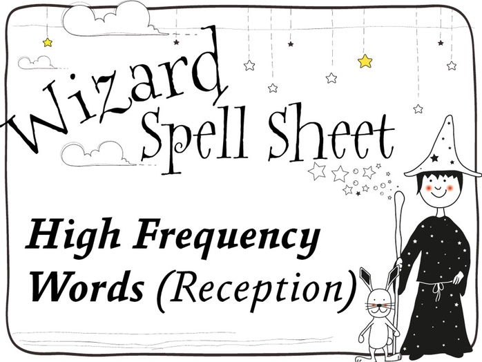 Phonics Wizard Spell Sheets:  High Frequency Words Foundation Stage