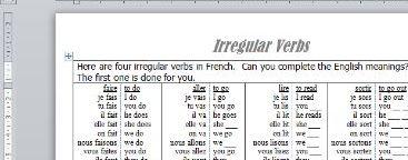 French worksheet to practise irregular verbs