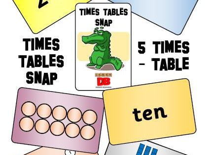 Times Tables Snap cards - 5 x table pack