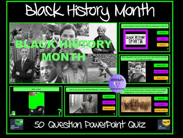 black history month quiz 50 questions by krazikas teaching