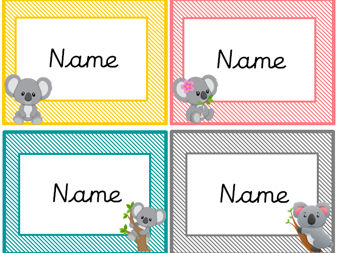 Koala themed classroom organisation resources