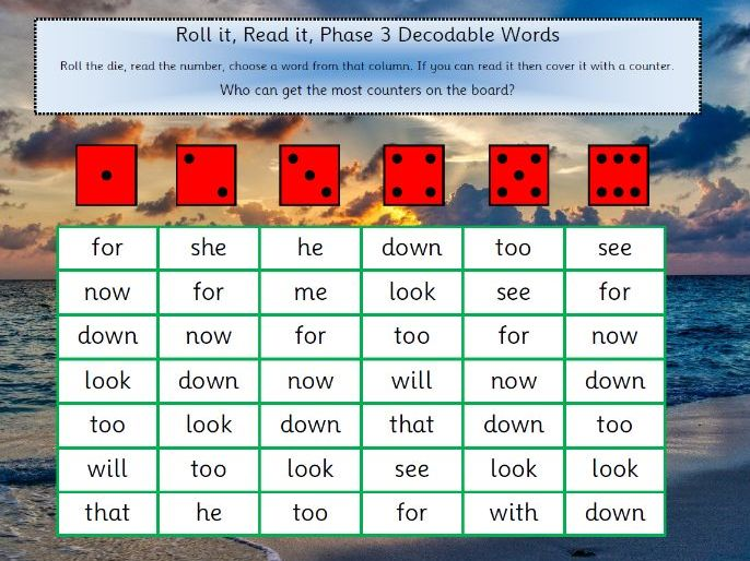 Phase 3 Tricky and  Decodable Words Game