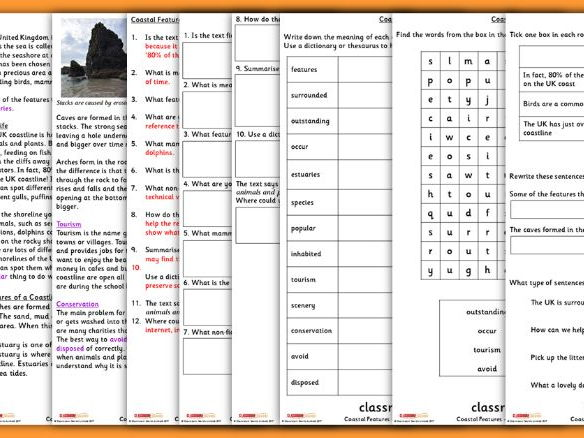 KS2 Coastal Information Text Guided Reading Carousel Pack