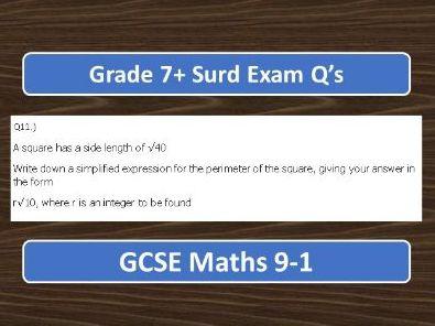 GCSE Maths 9-1 Surds Grade 7+ Exam Q's
