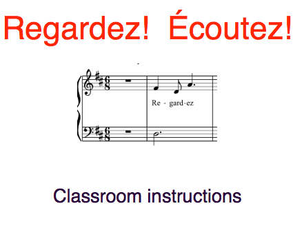 French classroom instructions taught through song: 8 files