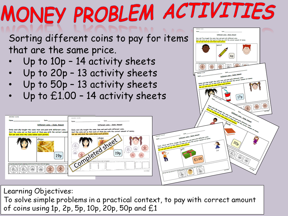 Money: Cut and Paste Sorting Coins Activities to pay for items up ...