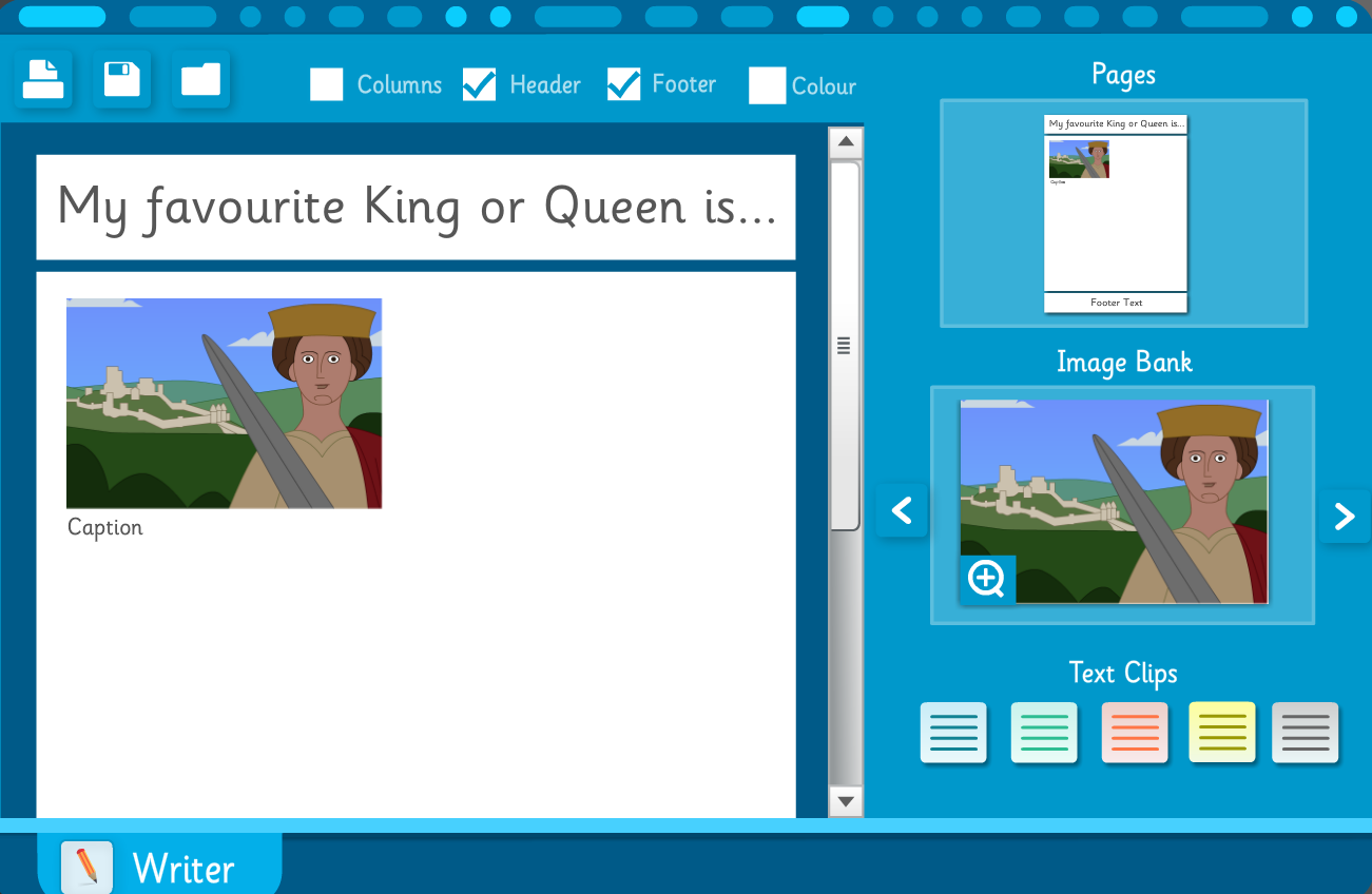 Interactive Writing Template - Kings, Queens and Rulers KS2