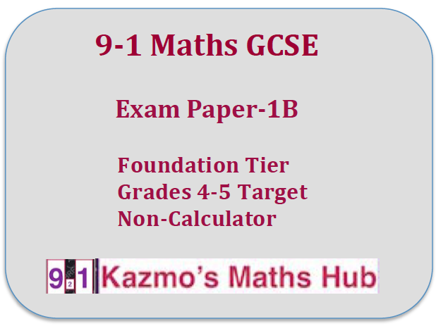 9-1 Maths GCSE Exam Paper -1B