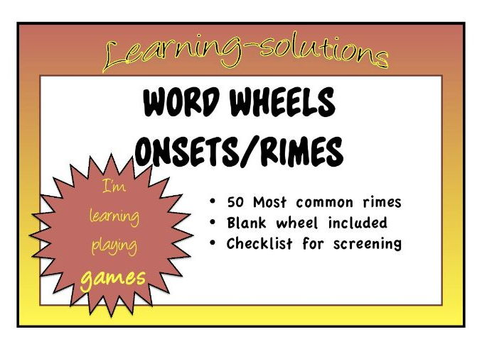 ONSETS and RIMES WORD WHEELS - 50 Most Common Rimes + Blank Word Wheel