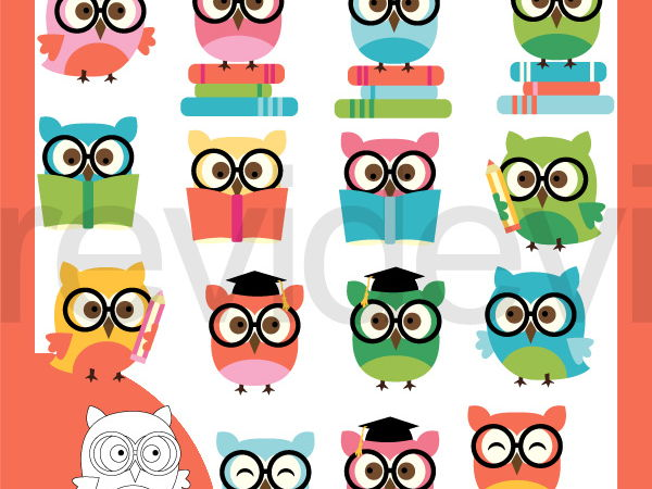 Smart Owls clip art - owls with glasses and books