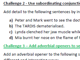 Improve sentences with coordinating and subordinating conjunctions, and adverbs (differentiated)