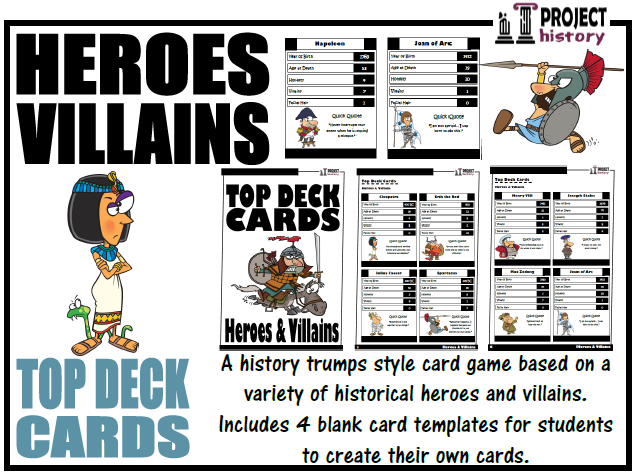 Historical Heroes and Villains Top Deck Cards [Trumps Style Card Game]