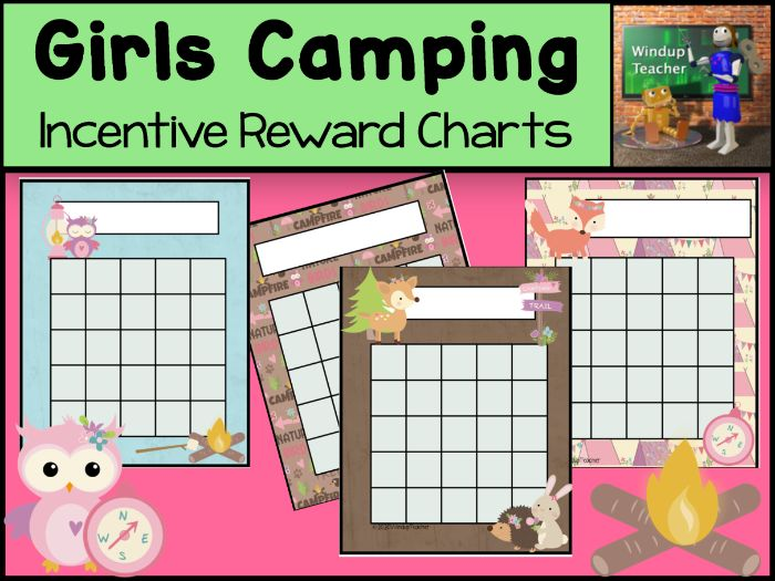 Camping Sticker Charts for Girls