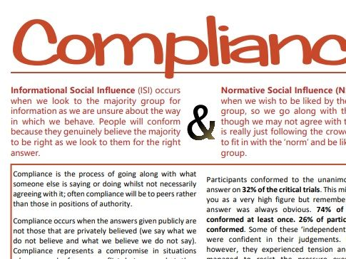 Conformity: Compliance, Identification & Internalisation