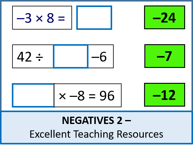 Number: Negatives 2  - Four Operations & Problems (+ resources)