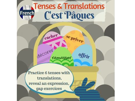 Tense and translation practice in French with the Easter topic