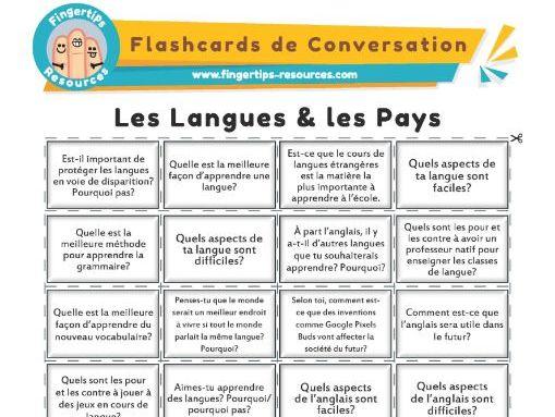 Les Langues & les Pays - French Conversation Flashcards