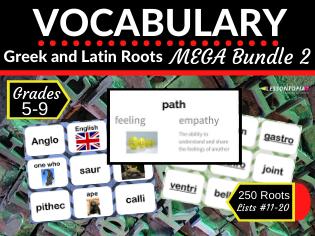 Greek and Latin Roots Vocabulary MEGA Bundle 2-Lists 11-20
