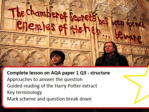 Paper 1 English Language AQA, question 3 structure. Complete lesson (Harry Potter)