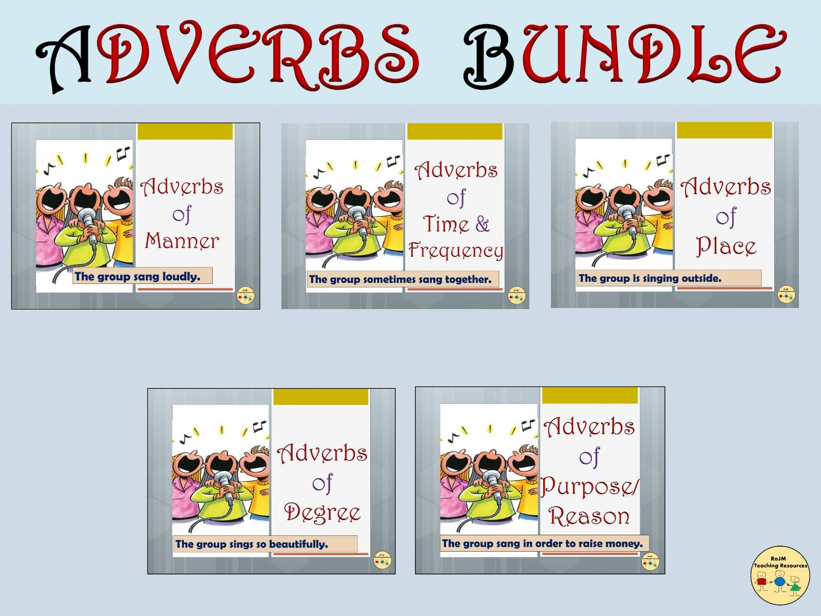 Adverbs BUNDLE Adverbs of Manner Time Frequency Place Degree Worksheets Posters Flashcards Vocabulary Grammar