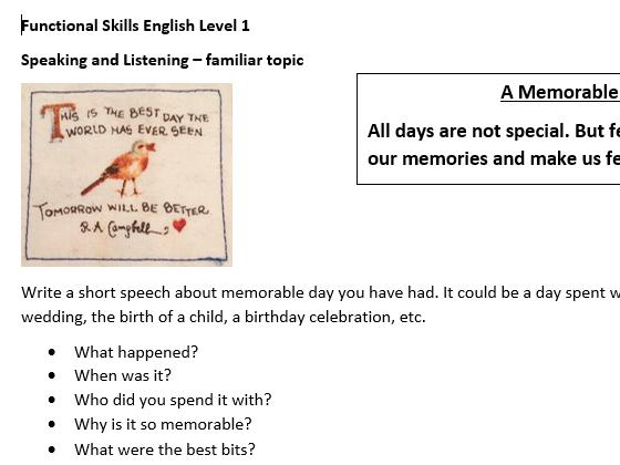 Speaking & Listening Tasks Level 1 FS English