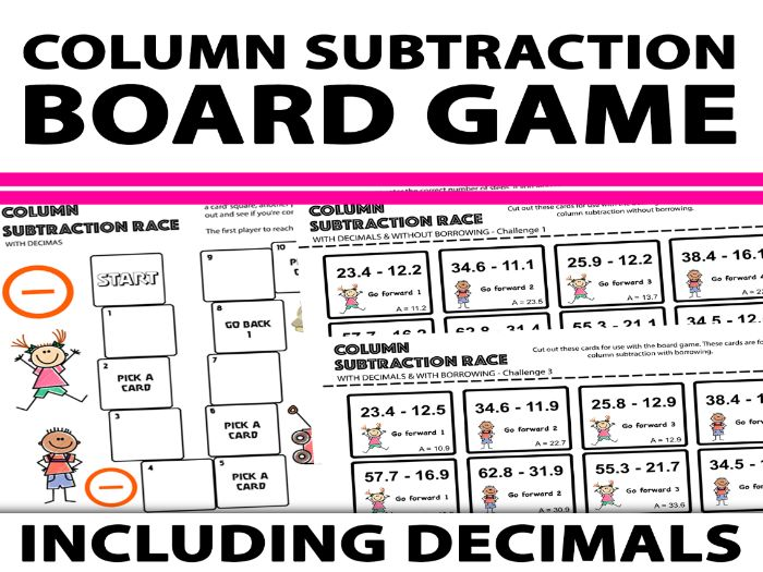 Column Subtraction With Decimals Board Game
