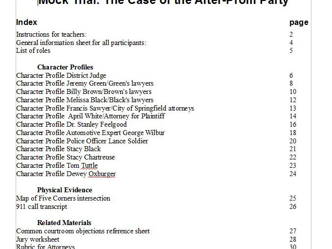 Mock Trial: The Case of the After-Prom Party