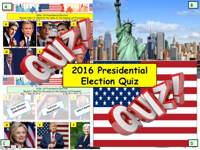 2016 - US Presidential Election Quiz - 6 rounds and over 40 Questions. End of term quiz