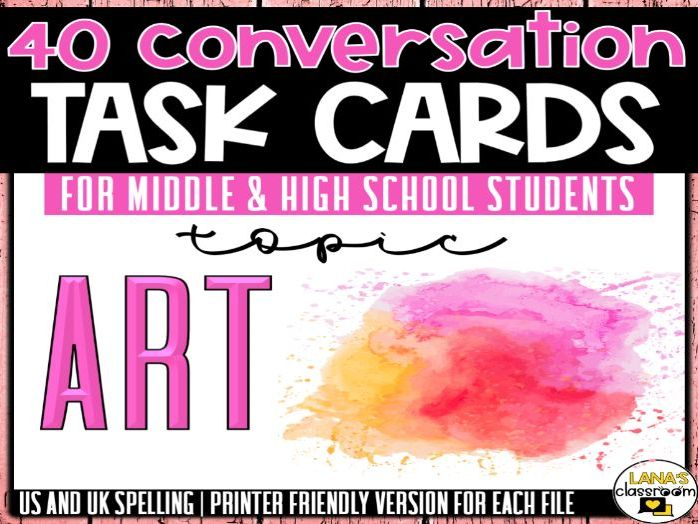Conversation Starter Cards | Art and Creativity | Social Skills for Middle&High