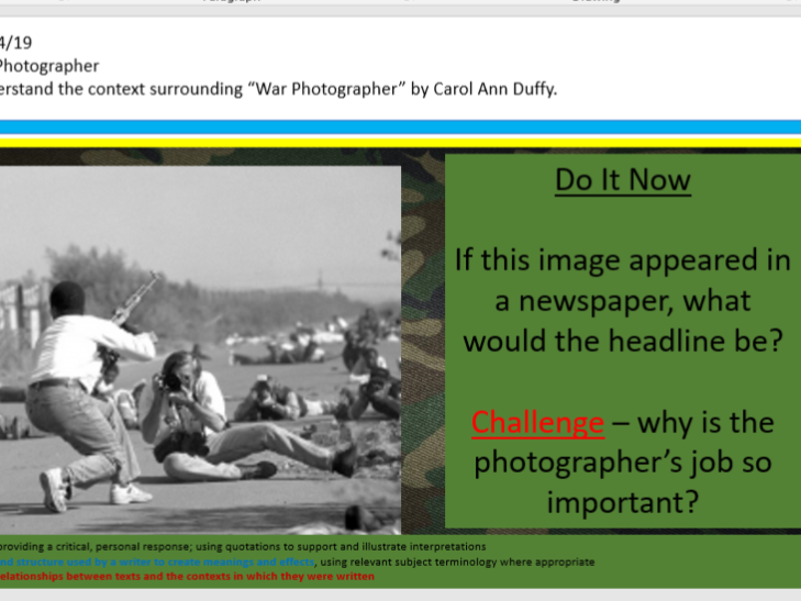War Photographer Context Lesson/ Worksheet/ Revision Tool