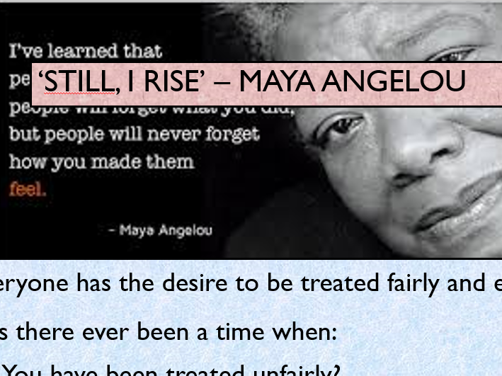 KS4 'Still, I Rise' Maya Angelou Poetry Analysis Practice
