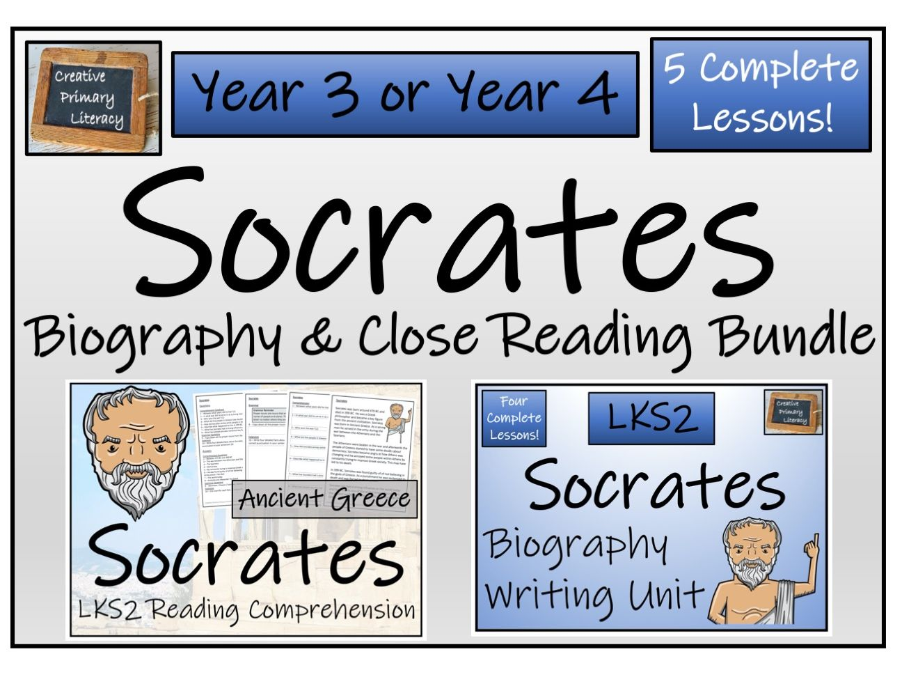 LKS2 History Socrates Reading Comprehension & Biography Bundle