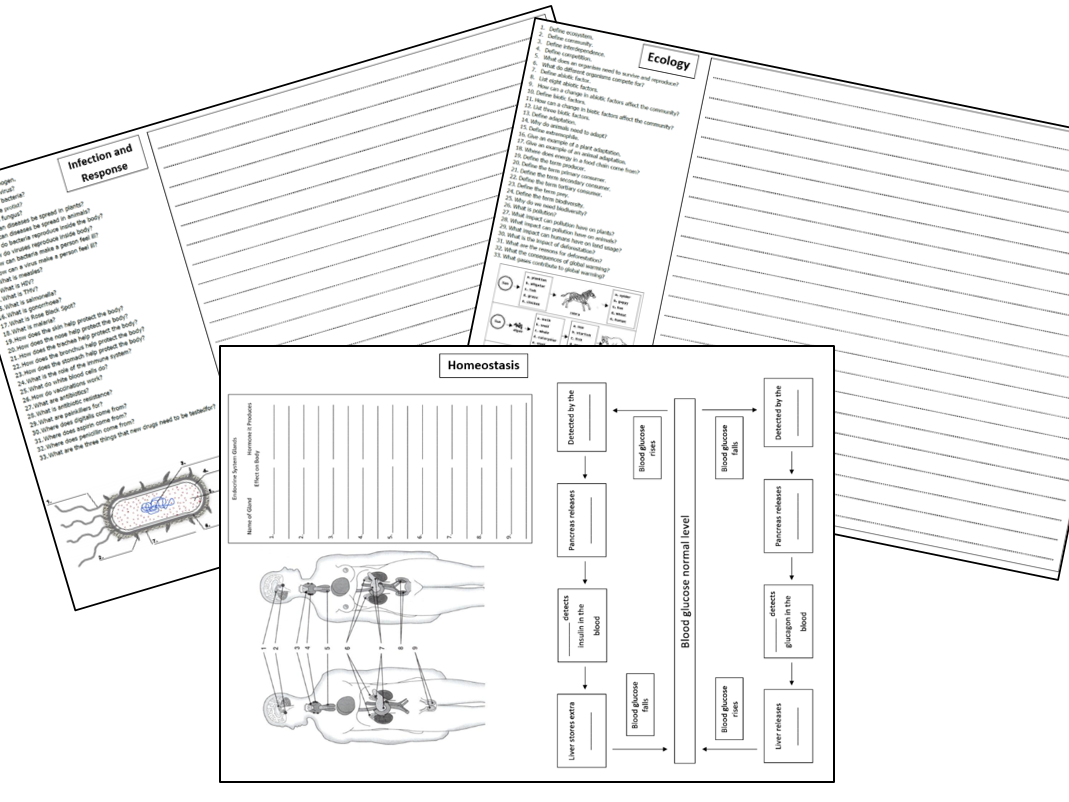 GCSE Biology and Trilogy Paper 2 Topics Revision Sheet 9-1 AQA