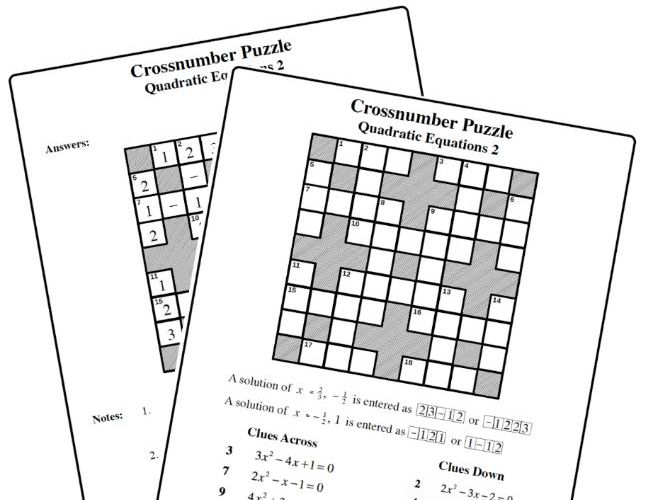 Crossnumber Puzzle: Quadratic Equation 2