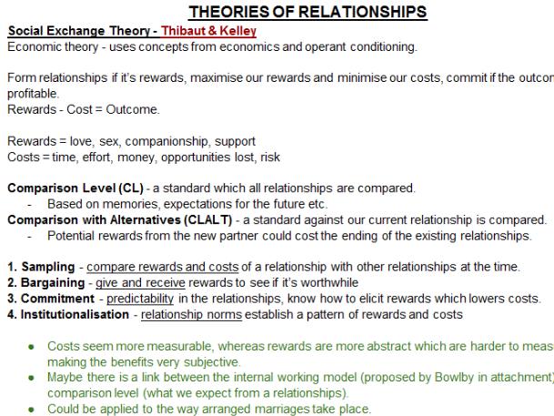 PSYCHOLOGY RELATIONSHIPS REVISION NOTES