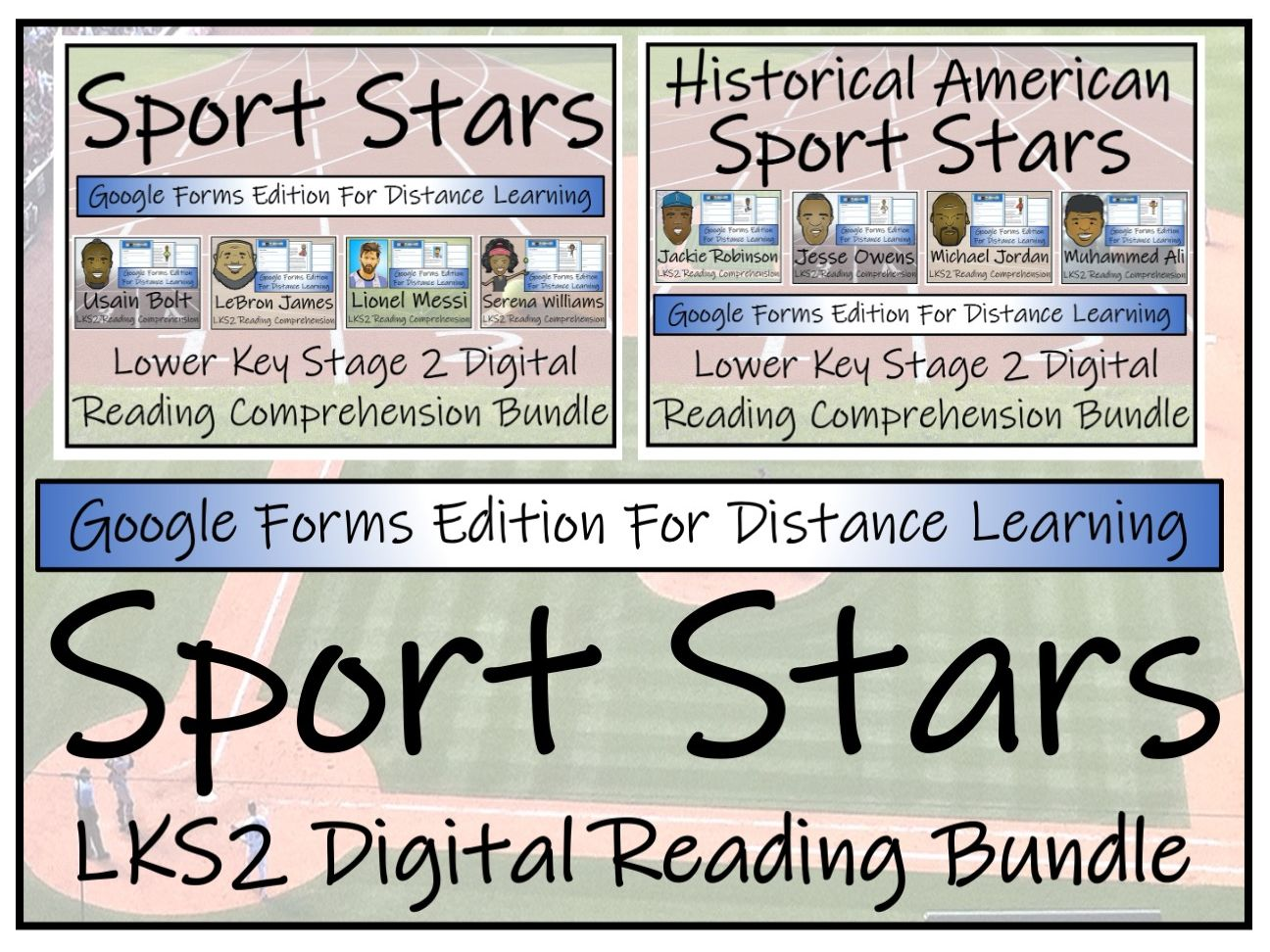 LKS2 Modern & Historical Sport Stars Reading Comprehension & Distance Learning Bundles